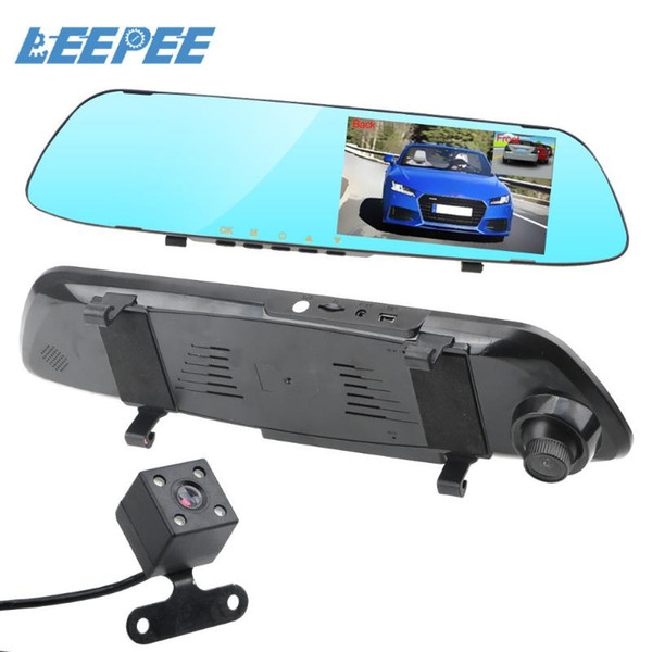 top popular LEEPEE Reversing Image Driving Recorder Video Dual Channel Rearview Mirror Recorder Car DVR Dash Camera IPS Screen Night Vision 2021