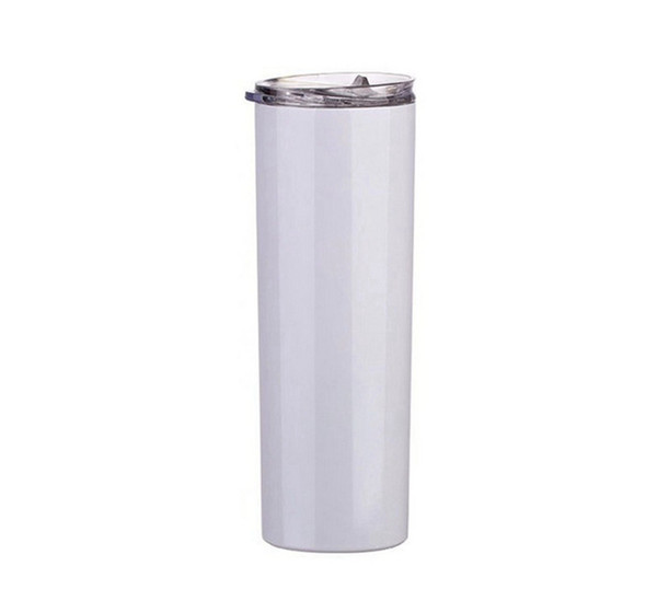 best selling 20oz Skinny Tumblers Sublimation Blanks Coffee Mugs Car Beer Mugs With Lid And Straws CYZ2726 Sea Shipping