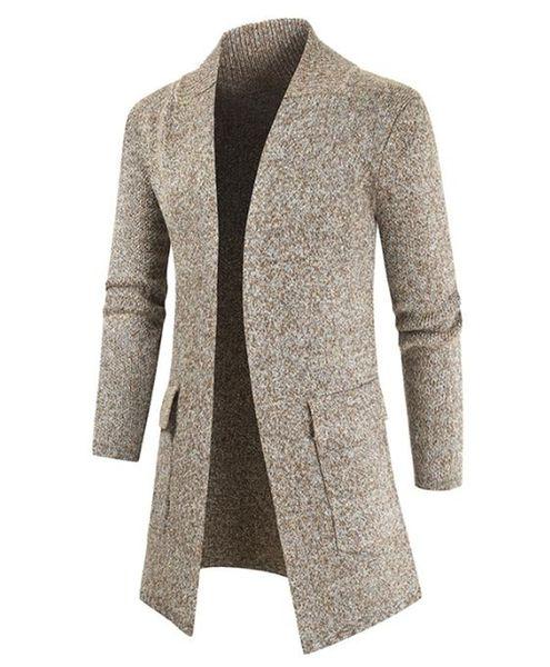 best selling Mens Winter Coat Fashion Natural Color Cardigan Wool Coat Casual V-Neck Long Sweater Coat Men S Clothing