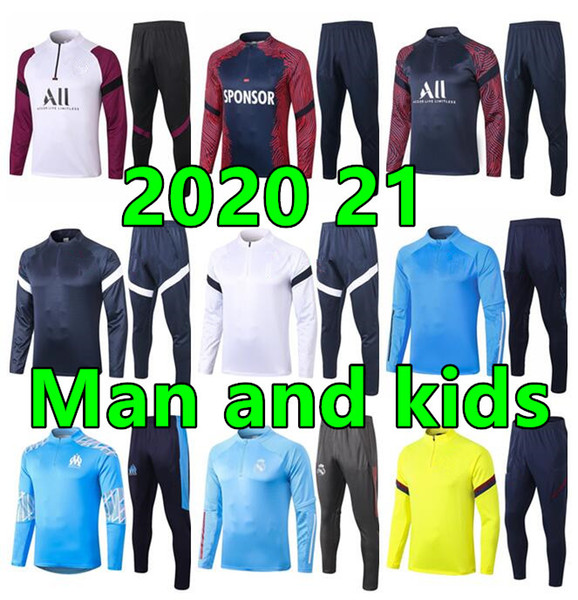 top popular 2020 21 Man and kids marseille soccer training suit France Paris enfant maillot de foot Football Ajax jacket jogging child spurs tracksuit 2020