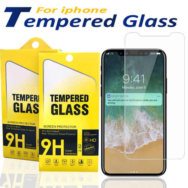 best selling Screen protector For iPhone 12 11 Pro Xs Max X XR 7 8 tempered glass For Samsung J7 J5 prime with Paper Box