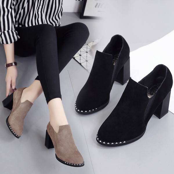 2020 New Single Shoes Women's High-heeled Thick-heeled Frosted Women's Boots Korean Version of All-match High-heeled Shoes Women