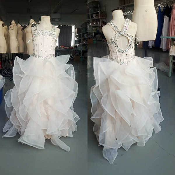 best selling 2020 In Stock Real Pics Girls Pageant Dresses Beaded with Ruffled Organza Party Dresses First Communion Pageant Gowns
