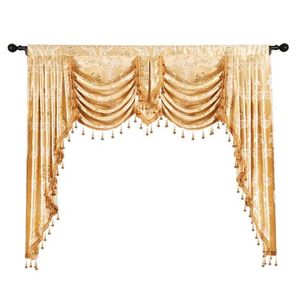 top popular European Luxury Jacquard Window Blackout Valance Royal Pelmet Lambrequins Valances for Living Room Bedroom 2021