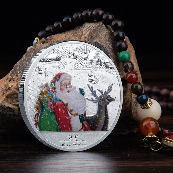 best selling Wholesale of 4 kinds of Christmas color coin Santa Claus commemorative medallet Christmas Eve Commemorative craft collection DHL Free