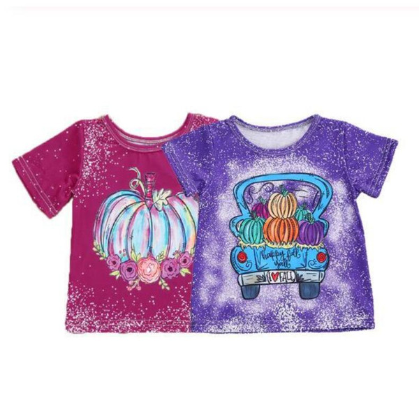 best selling New Baby Halloween Clothes Tie-Dye O-Neck Short-Sleeves Loose T-Shirt with Pumpkin Printing for Little Boy Girl 1-6 Years Kids Clothing
