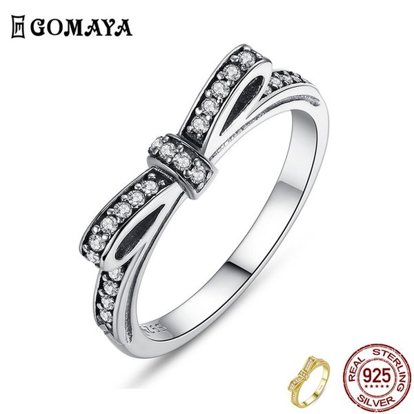 Cheap Rings GOMAYA 925 Sterling Silver Ring Sparkling Bow Knot Stackable Rings Cubic Zirconia for Women Valentine's Day Gift Fine Jewelry