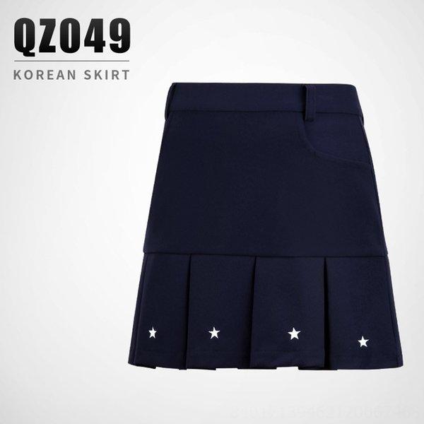 Qz049 Girls' Pleated Skirt-navy Blue