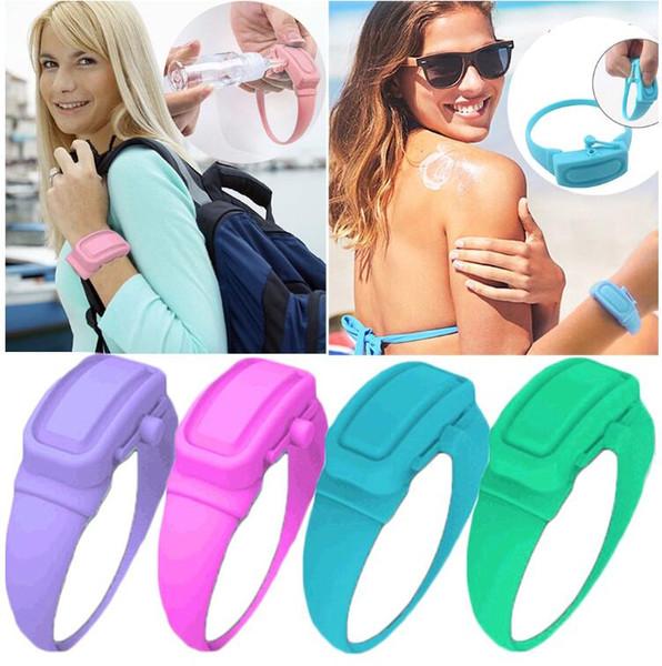 best selling Dispensador Gel Silicone Hand Sanitizer Dispenser Disinfectant Portable Soap Silicone Bracelet Wristband Hand Wearable Dispensador Liquid