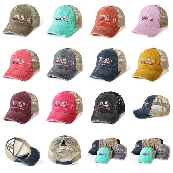 top popular Trump Ponytail Baseball Hat 11 Colors Washed Cotton Trucker Caps Criss Cross Messy Buns Caps Fitness Supplies Ponytail Sports Caps CYZ2714 2021