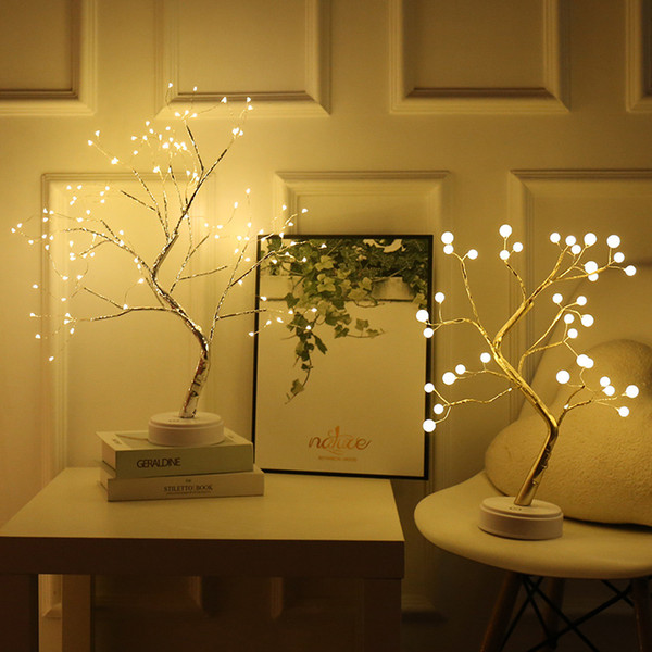 Battery Operated Tree Lamp Decorative LED Lights Tree Night Lights Fairy USB Touch Desk Table Kids Bedroom Warm White Night Bedside Lamp