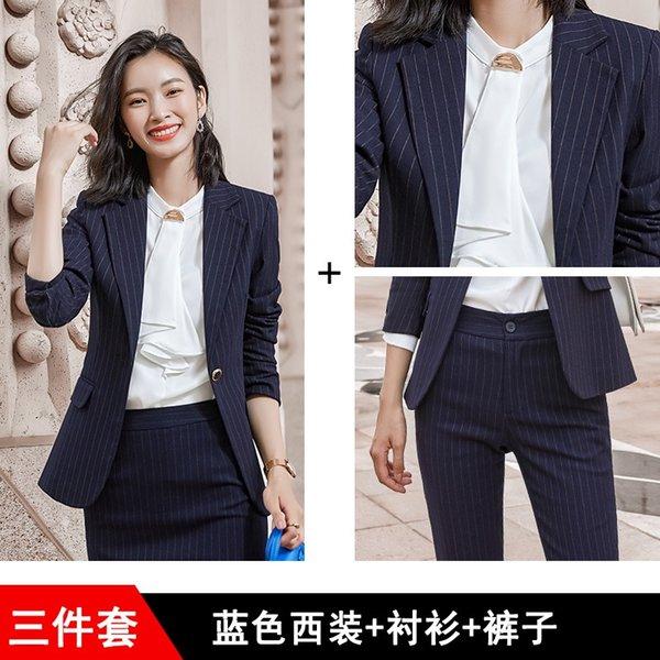 Strisce blu del vestito + camicia bianca + blu St