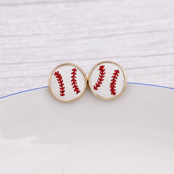 best selling 16mm Embroidery Baseball Stud Earrings Cheetah Animal Print Hairy Genuine Leather Studs for Women Gold Softball Earrings Sports Jewelry