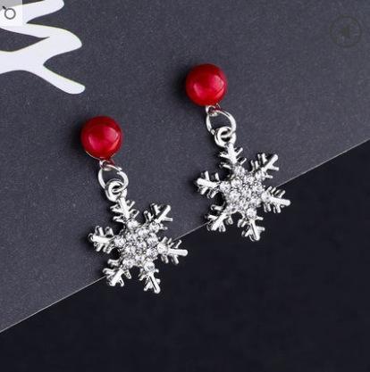 Aiguille d'Argent: Perle Rouge Boucles d'oreilles + neige