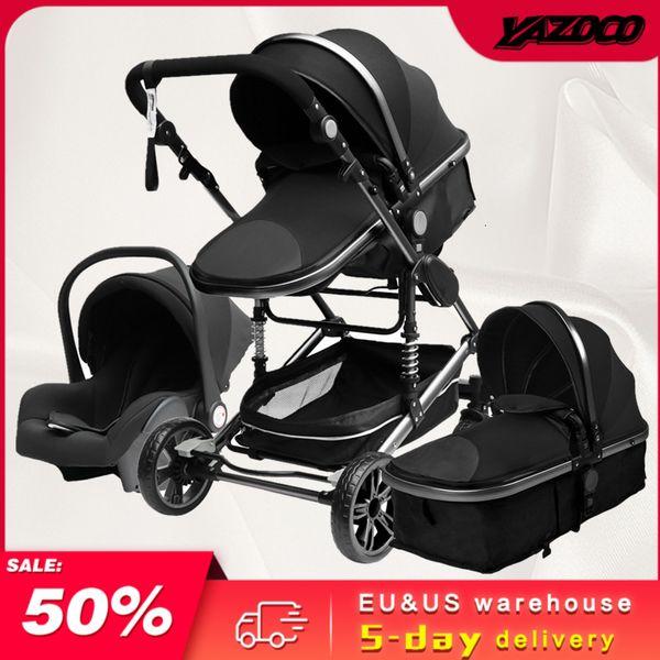 best selling Luxury 3 In 1 Baby Stroller Portable High Landscape Gold Black Baby Carriage Folding Multifunctional Newborn Carrinho De Bebe