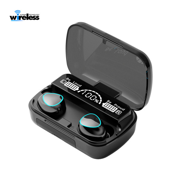 top popular M10 TWS Bluetooth Earphone Wireless Headphones Stereo Sport Earphones Touch Waterproof Gaming headset f9 earbuds 2000mAh LED Display 2021
