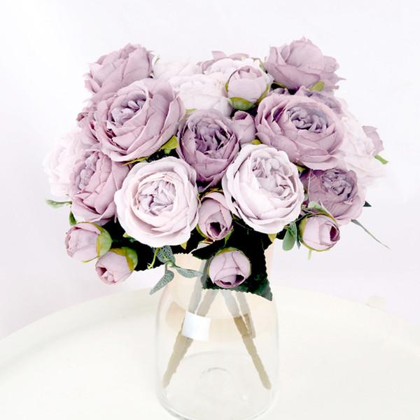 1 Bouquet 9 heads Artificial Flowers Peony Tea Rose Autumn Silk Fake Flowers for DIY Living Room Home Garden Wedding Decoration