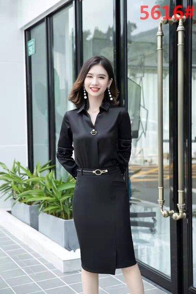 Черный с длинными рукавами рубашки + юбка