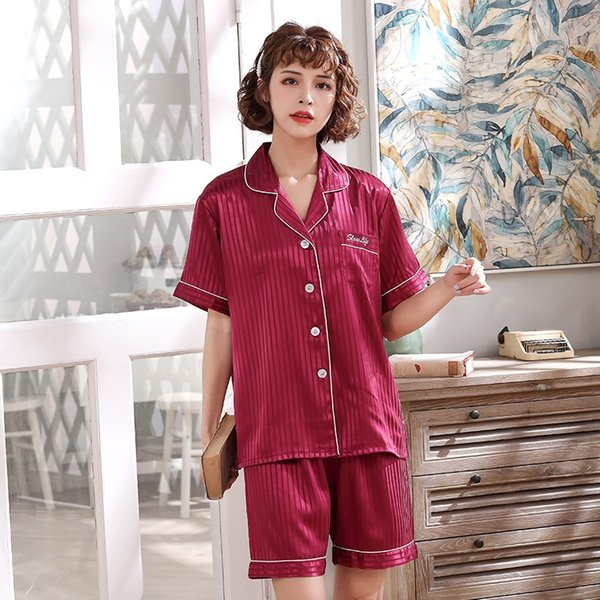 Short-sleeved Wine Red Ladies Thin Strip