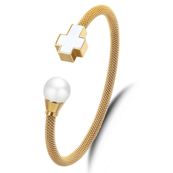 best selling ladies fashion white pearl cross charm gold plated wire stainless steel bracelet cuff bangle