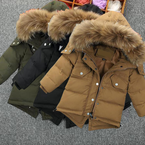 top popular 1-5Y New Parker Hodded Solid Faux Fur Collar Boy Baby Jacket Kids Boys Winter Coat Clothes For Babys 2021