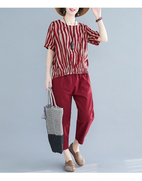 Pantalones Red Stripe Top + Red