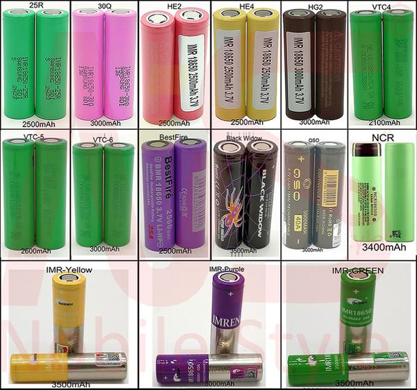 best selling 50pcs 18650 lithium Battery Batteries High Drain 40A 3500mAh E CIG Vapes QSO 510 Thread NCR IMR VTC4 VTC5 VTC6 25R 30Q HE2 HE4 HG2 Mod Palm