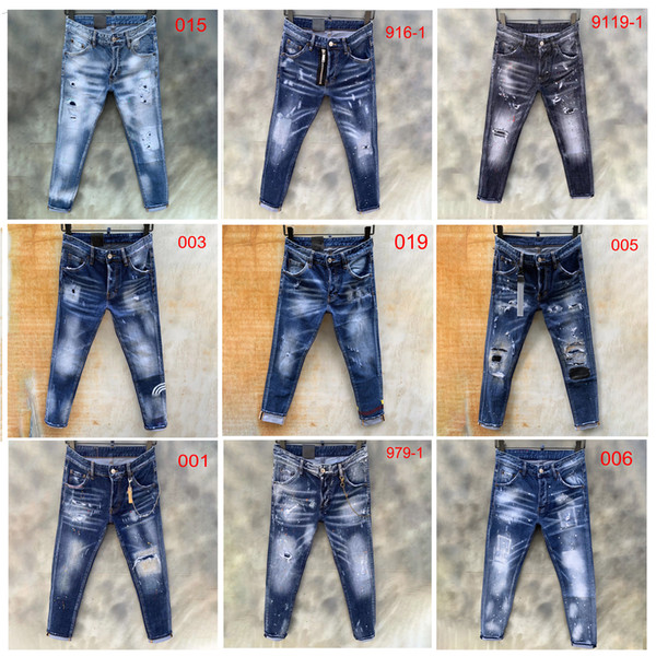 top popular 2020 mens jeans denim ripped jeans for men skinny broken Italy style hole bike motorcycle hot rock revival pants12style 2020