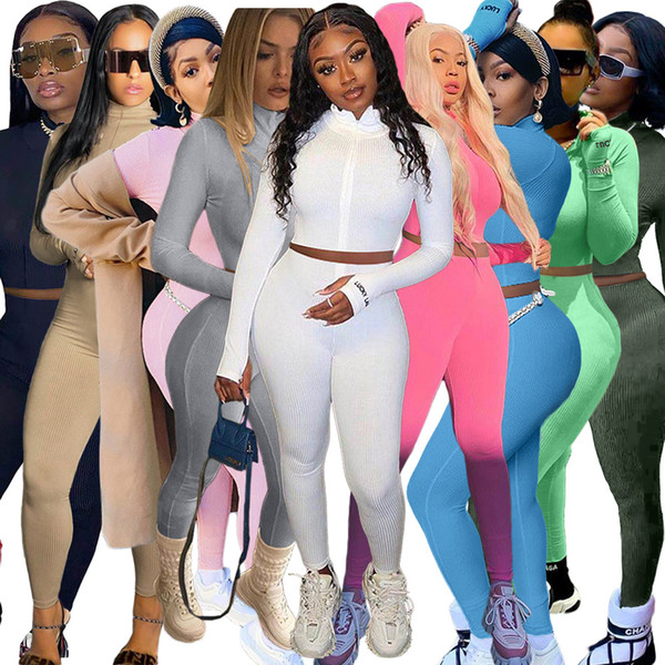 top popular Solid Ribbed High Elastic Sporty Suit for Women High Necked Long Sleeve Crop Top and Skinny Jogger Pant Embroidery Letter Outfit 2021