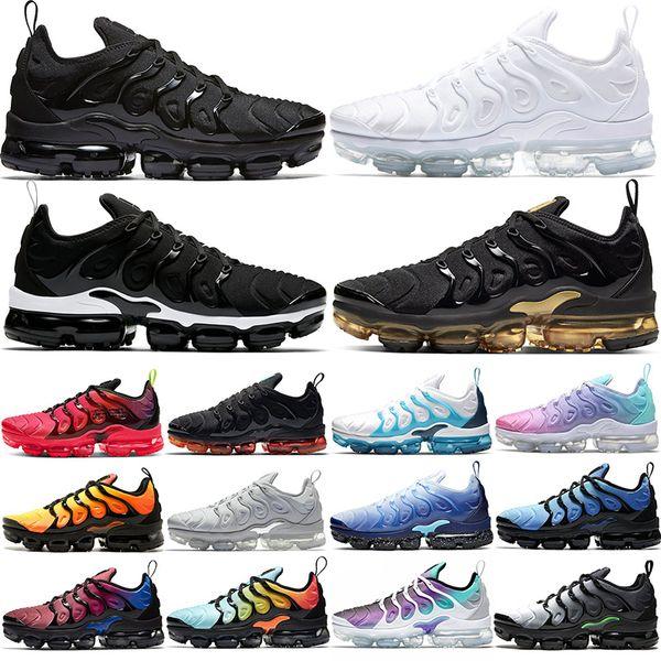 top popular TN Plus Men Women Running Shoes Triple Black White DMP Sunset Hyper Red Blue Volt fashion Mens Trainers Sports Sneakers Size 36-47 2021