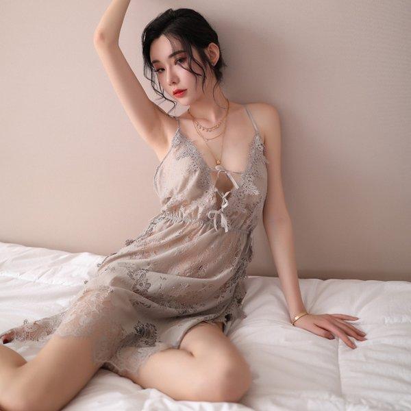 Серый Nightdress + T штаны-One Size