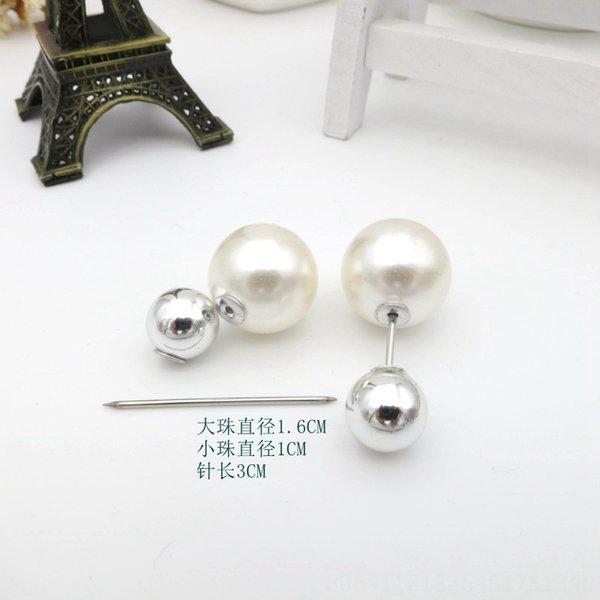 11 # Argento Palla grande della perla Pin Lunghezza 3 centimetri