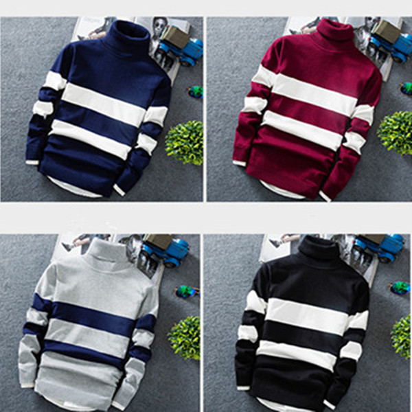 best selling Men Pullover Turtleneck sweater winter autumn Knitted Long-sleeved color-blocking striped sweater trendy youth slim style