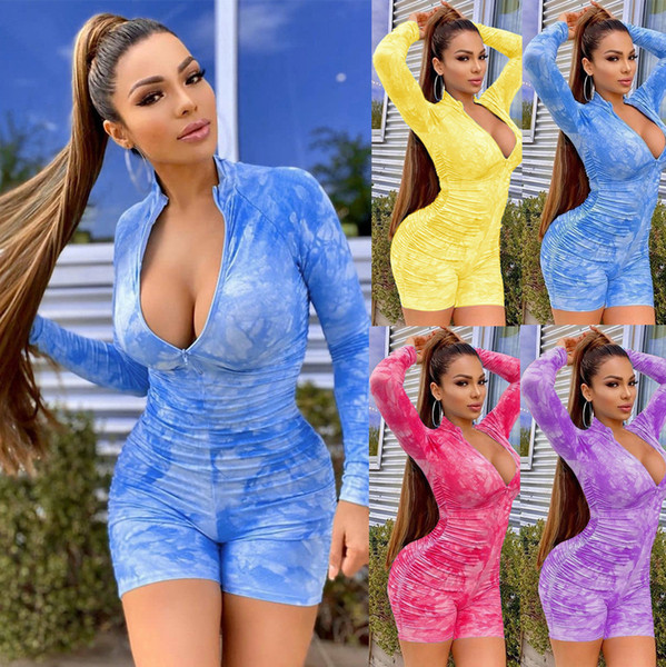 best selling Sexy Women Jumpsuits Tie Dye Rompers High Deep V Neck Long Sleeve Single Breast Ribbed Bodysuits Playsuits Rompers 819