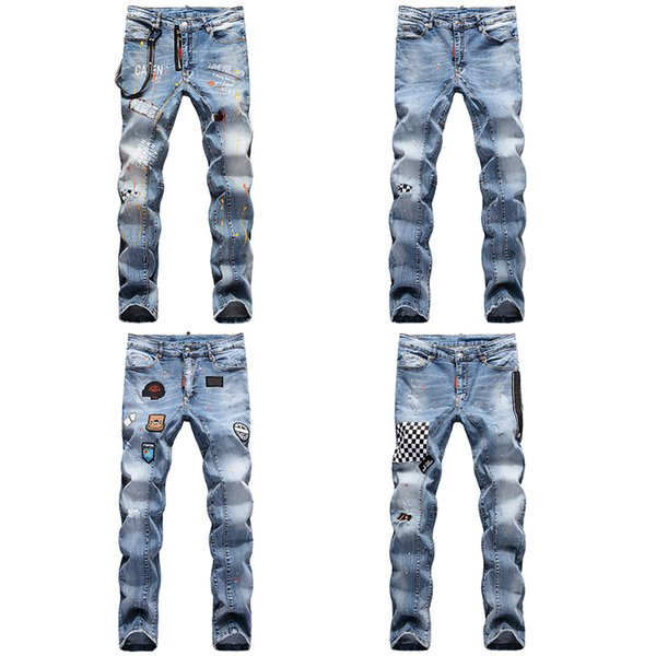 top popular High Quality Mens Designer Casual Straight rock revival D2 Jeans Retro Slim Skinny Jeans Fashion Luxury Ripped Men Hip Hop Denim Pants 2020