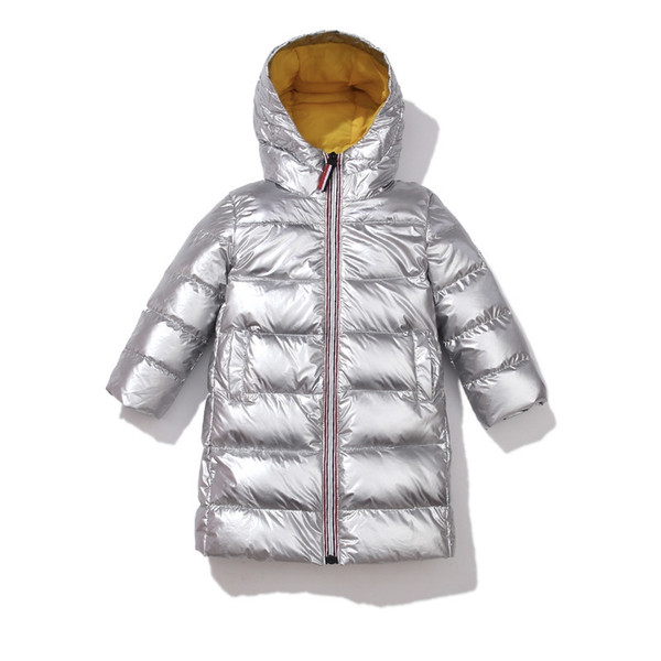 top popular 2020 New Children Winter Jacket for Kids Silver Gold Boys Hooded Coat Baby Clothing Outwear Parka Girls Down Coats C0924 2021