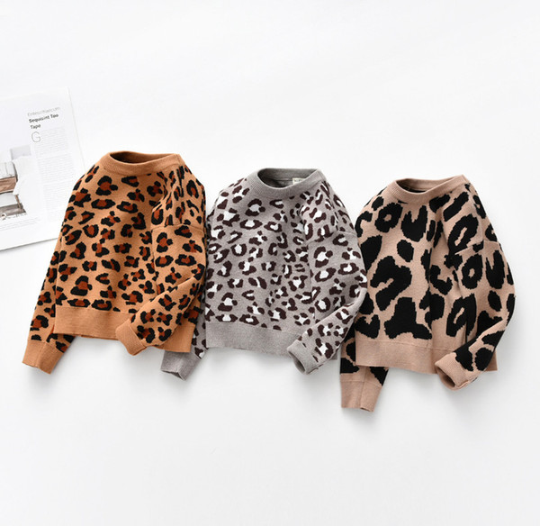 best selling Baby kids sweaters girls leopard pattern knitted pullover children cotton knitting sweater fall kid clothing A4085