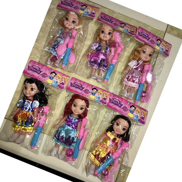 top popular 10 inch 6 princess dolls with cosmetic suit chinese wholesale cosmetics children girls age 5+ 2021