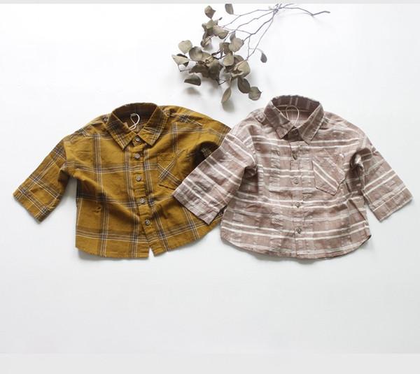 top popular FM INS Korean Japan Kids Girls Boys Plaid Shirts Linen Cotton Soft Long Sleeve Front Buttons Quality Little Princess Blouses Children Tops 2021