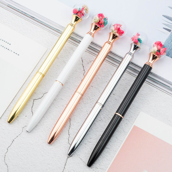 top popular Best selling rotary pen luxury dried flower pen gradient kawaii writing pen office supplies school supplies novelty stationery 2020