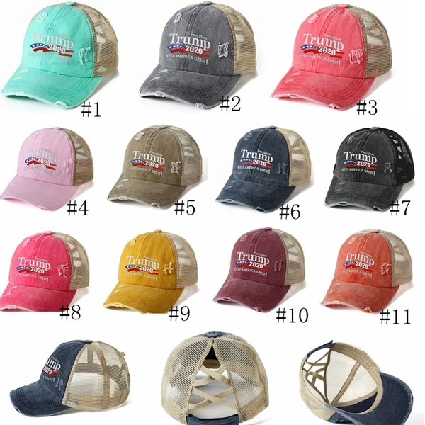 top popular Trump 2020 Baseball Cap washed Criss Cross Caps Keep America Great hat President Election Ponytail Hat Embroidery Mesh Hats 11color GGA3670 2020