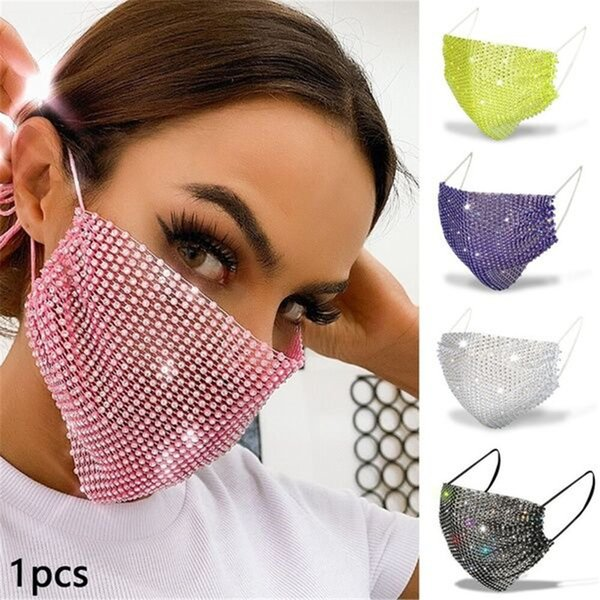 fashion blingbling rhinestone grid flash diamond jewelry mask party accessories women face masks washable masks