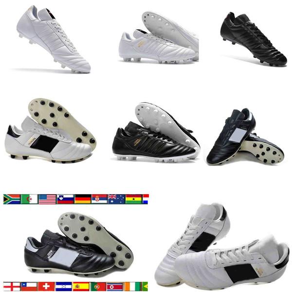 top popular Copa Mundial Leather Mens FG Soccer Cleats chaussures de foot chaussures de Football Boots Black White Orange botines futbol taquets Shoes 2020