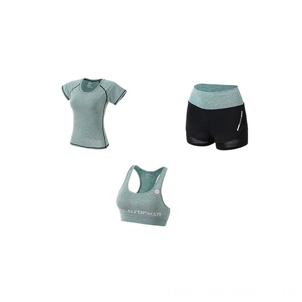 Green Three-piece Set (shorts Bra T-shir