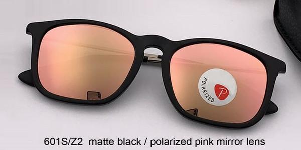 lente espejo negro mate / polarizado rosa