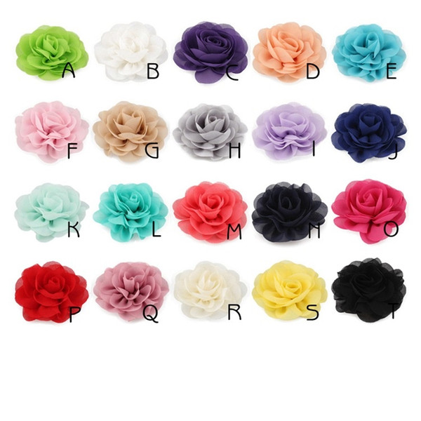 top popular Chiffon Fabric Flower For DIY Hair Headband Wedding Invitation Artificial Flowers For Dress Decoration 2021