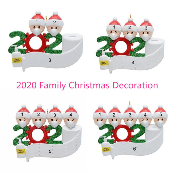 best selling 2020 Quarantine Christmas Birthdays Party Decoration Hand Sanitizers Personalized Family Of 4 5 6 7 Ornament Pandemic Social Distancing