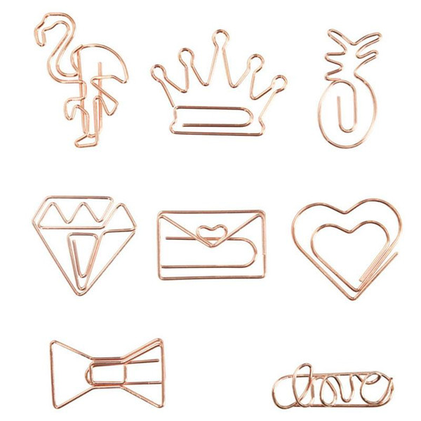 top popular Rose Gold Crown Flamingo Paper Clips Creative Metal Paper Clips Bookmark Memo Planner Clips School Office Stationery Supplies TQQ BH2529 2021