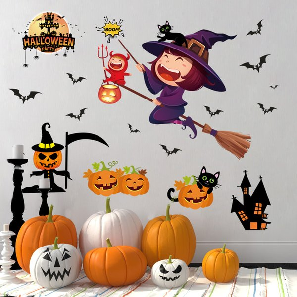 top popular Halloween decoration wall stickers scene layout glass static shopping mall window stickers ghost festival 2021