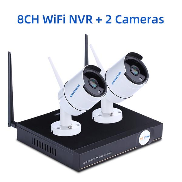 Nenhum EU Plug 8CH NVR e 2 Camera